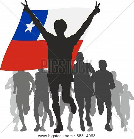 Athlete with the Chile flag at the finish