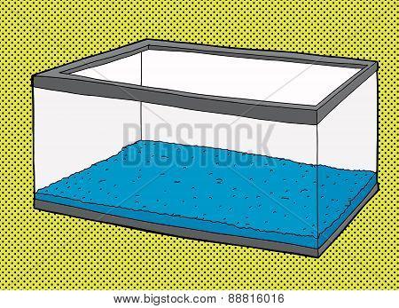 Empty Aquarium Tank With Blue Gravel