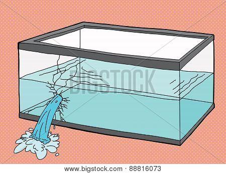 Single Broken Pet Fish Tank