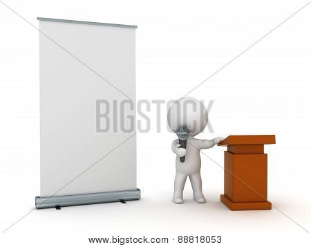 3D Character Public Speaker with Roll-Up Poster