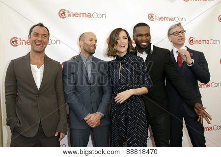 LAS VEGAS - APR 23: Jude Law, Jason Statham, Rose Byrne, Curtis '50 Cent' Jackson, Paul Feig at the Twentieth Century Fox 2015 at Cinemacon at Caesars Palace on April 23, 2015 in Las Vegas, NV