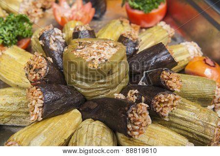 Dolma Stuffed Vegetables At An Oriental Restaurant Buffet