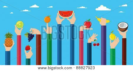 Illustration of hands holding different kinds of fruits. Vegetarian food icons. Flat design hand icons holding different types of fruit high against the sky. Vector illustration.