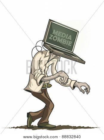 Media zombie with a laptop instead of a head. Isolated