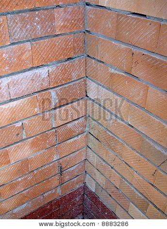 Vintage Red Brick Wall, Construction Corner