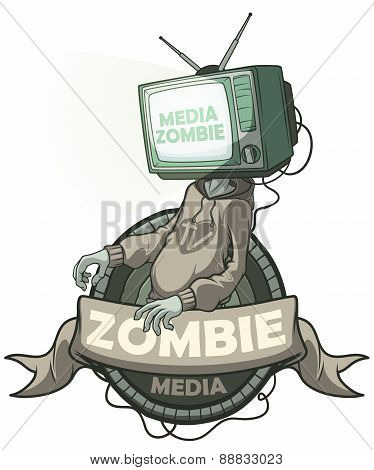 Media Zombie With A Tv Instead Of A Head. Label Isolated
