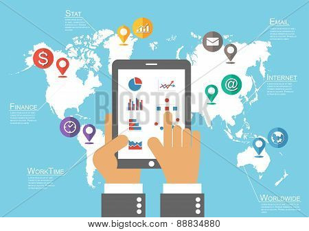 Businessman Hold Tablet And World Map With Location Pointer ( Infographic Vector )