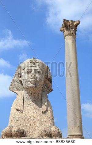 ancient Sphinx statue and Pompey's pillar