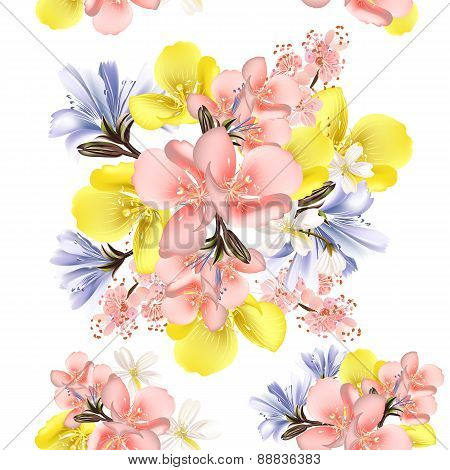 Flower Vector  Seamless Pattern With Flowers