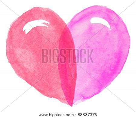 Watercolor Heart For Valentine's Day, Vector
