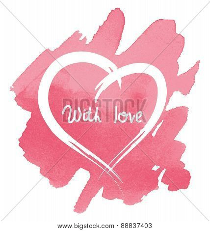 Heart On Abstract Watercolor Background, Vector