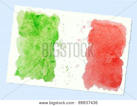 Abstract Watercolor Flag Of Italy, Vector