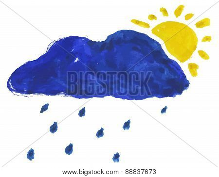 Vector Watercolor Illustration Of Cloud And Sun
