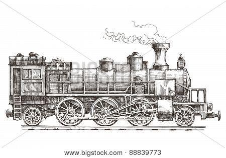 retro train on a white background