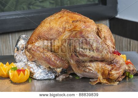Roasted Turkey At A Restaurant Buffet Carvery