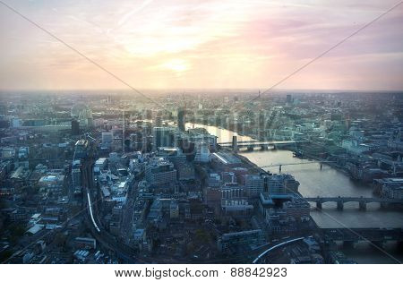 London sunset view from the Shard. Centre of London, London eye, River Thames with beautiful light r
