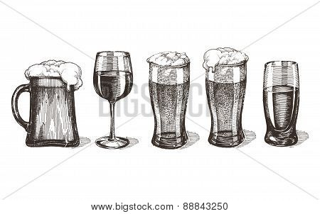 sketch. bar alcoholic drinks on a white background poster