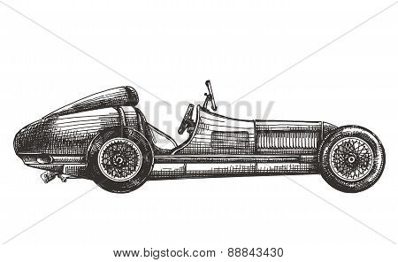 retro racing car on a white background. sketch