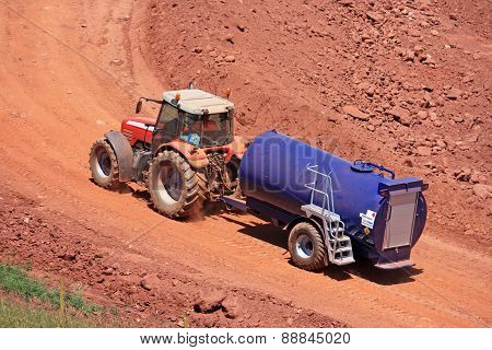 Tractor and water bowser