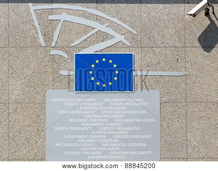 BRUSSELS, BELGIUM - AUGUST 5, 2014: entry signboard with European Parliament title in all languages of EU members.