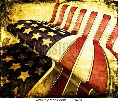 grunge style american flag - lots of grunge detail poster