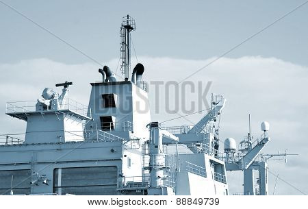 Naval Ship With Radar And Other Communications.