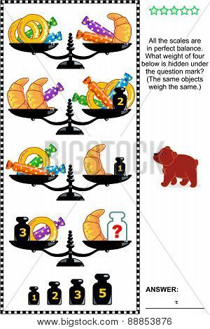 Visual math puzzle with scales, weights, baked goods and candies
