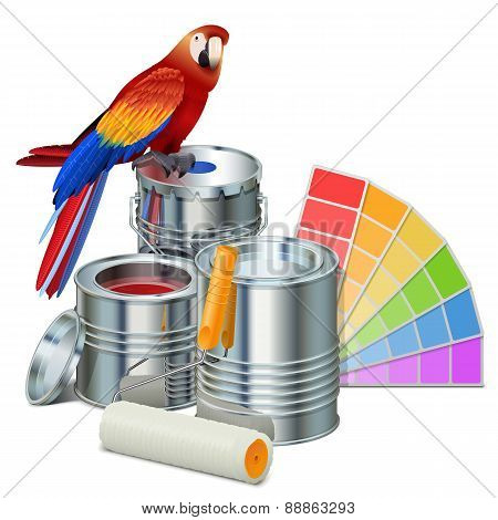 Vector Paint Cans With Parrot