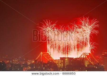River Fire Fireworks As Brisbane