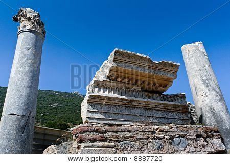 Detail of ancient ruins in Ephesus Turkey