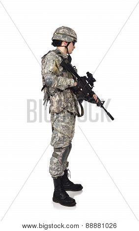 soldier with rifle on a white background poster