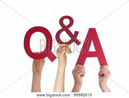 Many Caucasian People And Hands Holding Red Letters Or Characters Building The Isolated English Word Q And A Means Questions And Answers On White Background poster
