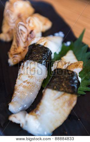 A plate of Gindara and Engawa sushi