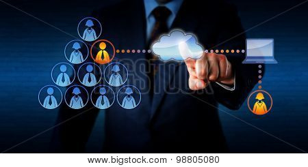 Manager plugging into his team a remotely working female freelancer to share a task with a permanent male employee. Technology concept for outsourcing casual labor marketplace and mobile computing. poster