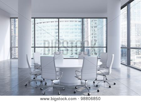 Panoramic Conference Room In Modern Office In Moscow, Russia. White Chairs And A White Round Table.