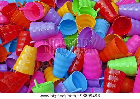Plastic ware - Many colorful plastic cups