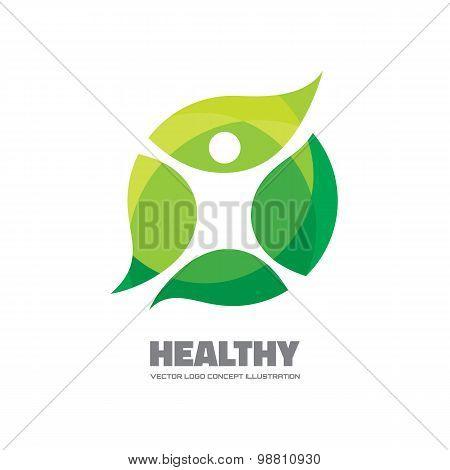 Healthy - vector logo sign concept illustration. Man figure on leafs. Vector logo template.