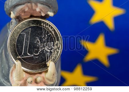 Euro Coin In Mouth Of A Hippo Figurine