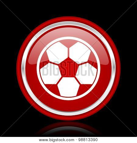 soccer red glossy web icon chrome design on black background with reflection