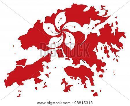 Hong Kong Flag In Map Outline Vector Illustration