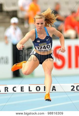 BARCELONA - JULY, 10: Courtney Frerichs of United States during 3000 meters Steeplechase of the 20th World Junior Athletics Championships at the Olympic Stadium on July 10, 2012 in Barcelona, Spain
