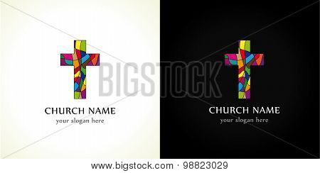 Church logo, old mosaic pattern. Religious vector christian symbol. Template crucifix in colored puzzles parts. Stained-glass crucifixion window from pieces.