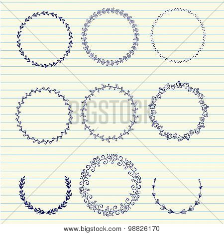 Vector Hand Sketched Wreaths