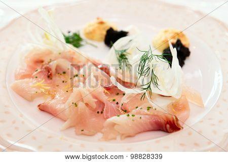 Cisco (vendace) fish fillet, thin sliced