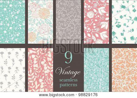 Vector Vintage Floral Elegant 9 Set Seamless Pattern