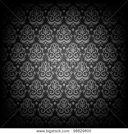Black antique seamless vector pattern.