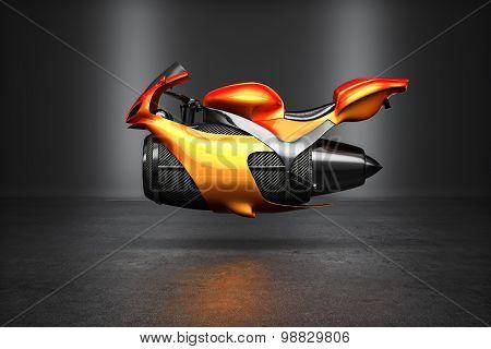 Custom orange futuristic turbine jet bike concept studio shot on display.
