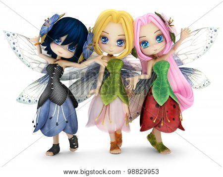 Cute toon fairy friends posing together on a white isolated background.