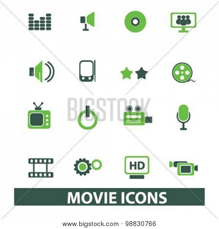 movie, media, cinema icons, signs, illustrations