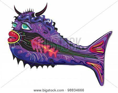 Fish illustration part man part fish with horns